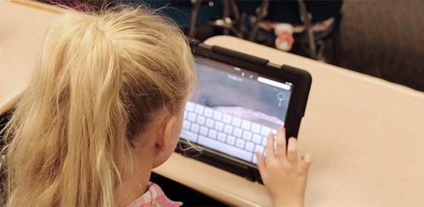 bambini, tablet, leggere