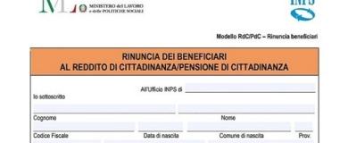 rinuncia reddito cittadinanza