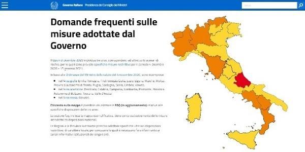 mappa zone rosse, zone arancioni, zone gialle dpcm 3 dicembre